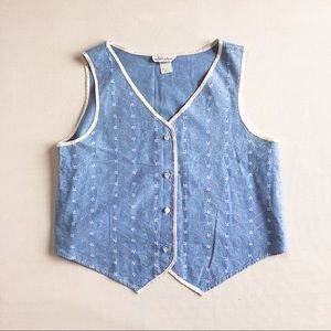 VINTAGE chambray eyelet sweetheart top